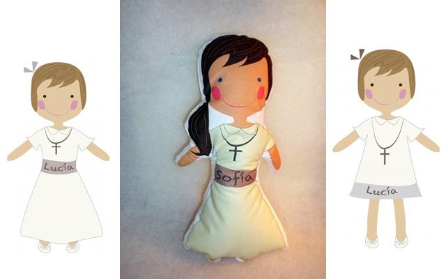 Muñecas de trapo vestidas de comunión