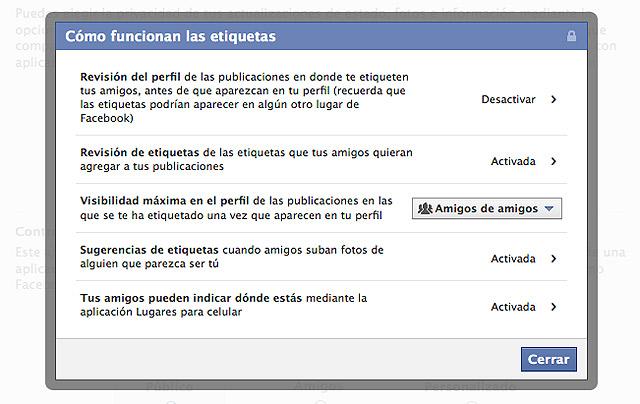 Facebook etiquetas privacidad